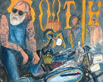 Acrylic Painting: Motorcycle at the Boot Hill Saloon
