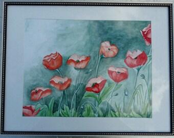 "Framed original watercolor of  poppy flowers, 20""x 16"""