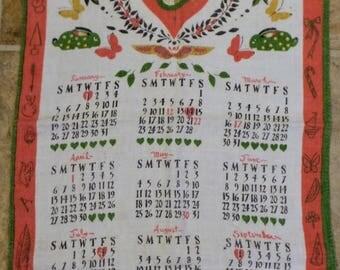 Vintage 1958 Linen Calendar