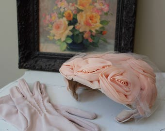 Vintage 1950s hat with blush rosettes and matching gloves