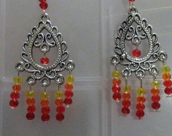 Chandelier Earrings with yellow, orange and red crystals