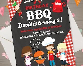 BBQ Birthday Invitation BBQ Birthday Party Kids BBQ Invitation Barbecue Invitation Kids Backyard Birthday Invitation chalkboard bbq invite