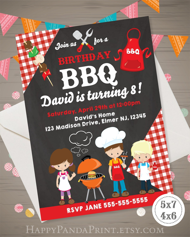 BBQ Birthday Invitation BBQ Birthday Party Kids BBQ Invitation - Backyard bbq party cartoon