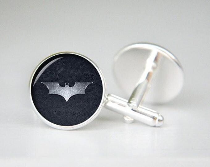 Batman Cufflinks, Batman Dark Night, Superhero Cufflinks, Mens Batman Cufflinks Custom Comic Superhero Symbol Personalized Cuff links
