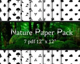 OFFER 70% Off SALE Nature Patterns Digital Paper Pack