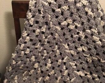 Handmade Crocheted Granny Square Throw Blanket