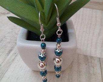 Blue silver shiny earrings fashion jewelry