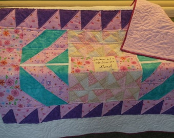 Pink and Purple Baby Girl Quilt