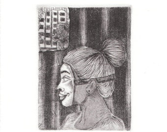 10x8in- Intaglio Print- aquatint and drypoint- Intaglio printmaking/ etching
