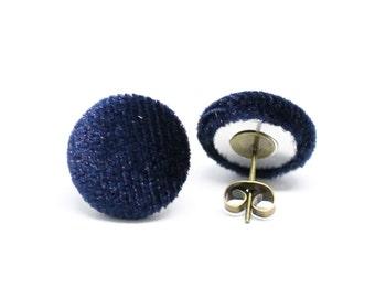 Velvet Ear Studs -  Fabric Buttons Turquoise / Bordreaux / Marine 14mm