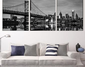 Philadelphia Ben Franklin Bridge Wall Art Canvas Print,  Philadelphia art,  Philadelphia Print, Ben Franklin Bridge, Philadelphia Skyline
