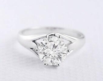 Moissanite Ring Forever One Forever Brilliant Moissanite Engagement Ring Triplet Band Solitaire Split Shank Simple Minimalist Bridal Ring