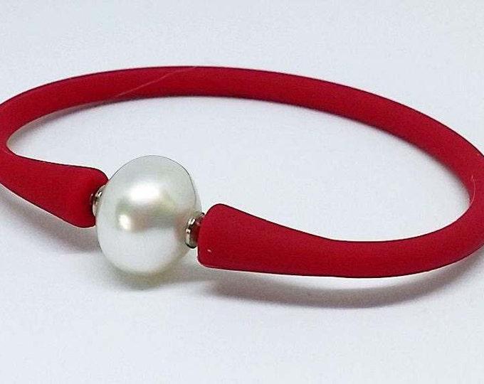 South sea pearl & neoprene bracelet