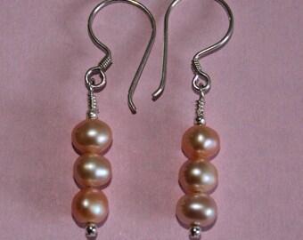Pale Pink Triple Freshwater Pearl Drop Earrings