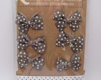 Bow and satin ribbons - white - brown - dots