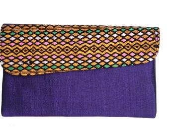 Purple Hand-Made Clutch Bag