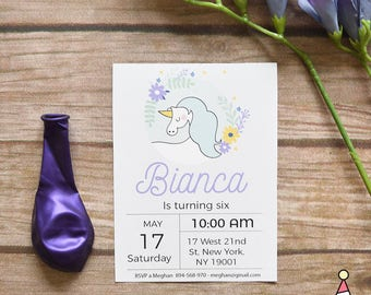 Unicorn Invitation, Girl completo Unicorn Party, Floral Unicorn invites, Printable, Customized text