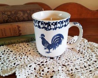 Rooster Coffee Mug Candle, Rooster, Coffee Mug Candle, Coffee Candle, Soy Candle, Birthday Gift