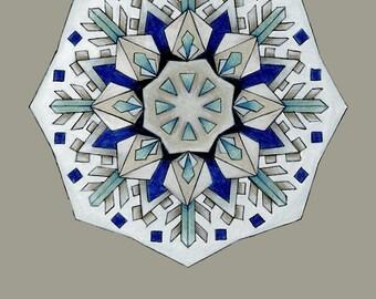Grey Mandala Print