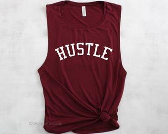 Hustle muscle tank top shirt, trendy gym tank top, cute gym tank top, gym shirt, exercise shirt