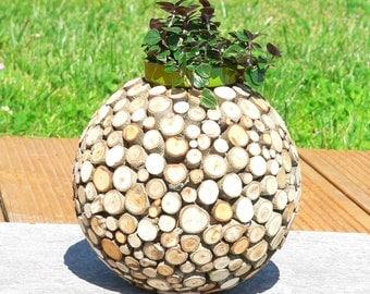 Cache pot/jar/vase wood/plant planter/succulent/support tillandsia/log wood/slice wood/gift/craft wood raw log/plant holder
