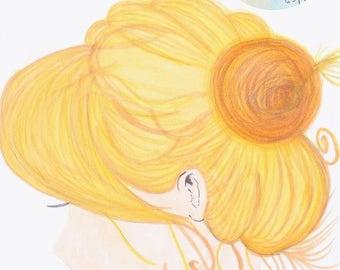 illustration print blonde ballerina messy bun, by Renee Ortiz illustrations©