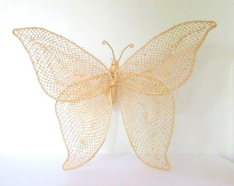 Nursery Decor, Nursery Gift, Hanging Butterfly, Butterfly Wall Art, Baby Girl, Woven Butterfly, Nursery Animals, Nursery Animal Art