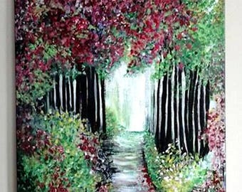 SOLD Burgundy Forest Path, acrylic, painting, trees, forest, impressionism, color, scenery, landscape