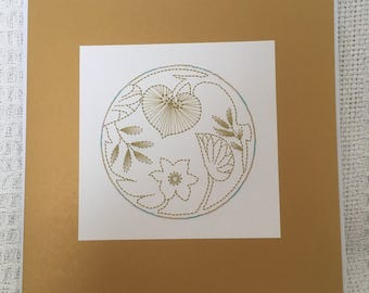 Hand stitched greetings card