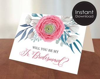 Junior Bridesmaid Proposal Card,Will You Be My Junior Bridesmaid Card, Proposal Card, Printable Card, Wedding Card, DIGITAL file 2 SIZES