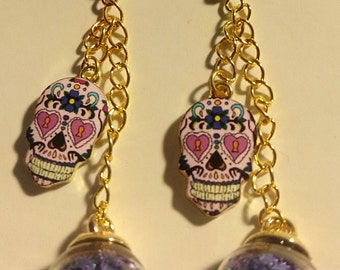 Glass Globe Skull Earrings