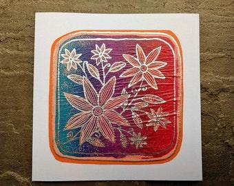 flowers blue / purpe / pink fade greetings card