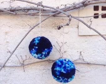 Ocean Deep Pom Pom Earrings