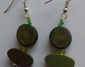 Dark green beaded drop earrings