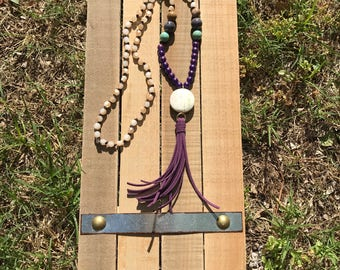 Long Purple Tassel Necklace | Boho Necklace | Southern Necklace | Rustic Jewelry | Gifts under 50 | Mothers Day Gift | Gift for Bridesmaid |