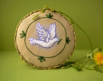 cross stitched pincushion, needle keeper, primitive embroidery, pincushion ,spring bird, wall decor ,Gift for mom, Womens gift, peace dove