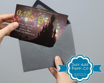 Disney Castle Fireworks Birthday Invitation Full Customisable