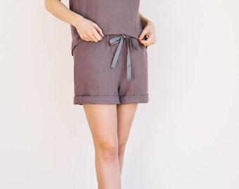 Dusty lavender shorts / Linen pajama shorts / Linen shorts