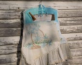 Reserved for JWright - Clothespin Bag - Farmhouse Style -Vintage Linen - Flower Basket - Aqua and Cream -Tattered Ruffle -
