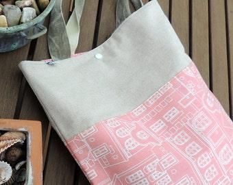 handmade tote bag, bag fabric cotton bag + fabric houses waterproof