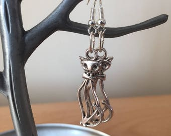 Cat Earrings, Silver Cat Charm Earrings, Silver Cat Earrings