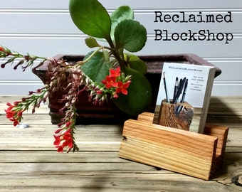 Reclaimed Wood Business Card Holder, Wood Business Card Stand, Business Card Display, Wood Business Card Holder, Barnwood Card Holder