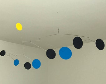 Hand-Painted Alexander Calder Inspired Abstract Kinetic Mobile Sculpture #6