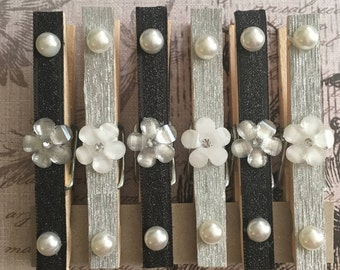 Black Glitter and Silver Flower Clothespins