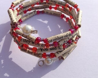 Red and Purple Sense and Sensibility Book Bead Bracelet