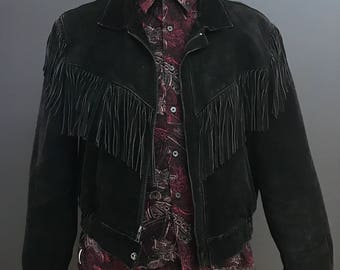 Leather jacket. Fringed suede jacket. Vintage jacket. Country jacket. Vintage leather jacket. Vintage Fringed suede jacket.
