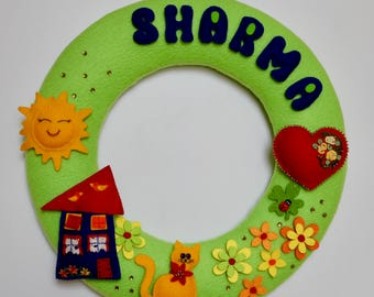 Wreath with details made of felt, embroidery, name Garland, wreath, procession, gift, birthday