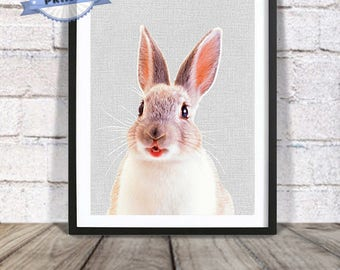 Rabbit Print, Nursery Decor, Printable Room Poster, Cute Animal, Wall Art, Instant Digital Download, Large Poster, Baby Shower Gift