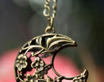 Lovely Moon Necklace- Bird and Flowers