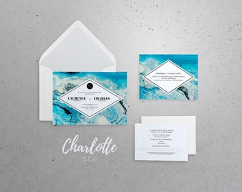 Wedding invitation, announcement 5x7 in with envelope A7 - Chic, marble, blue, aqua, modern, winter, neutral